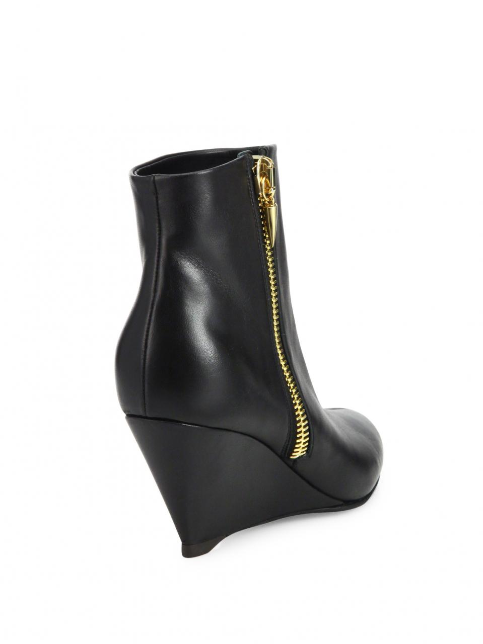 Giuseppe Zanotti | Black Leather Wedge Booties | Lyst