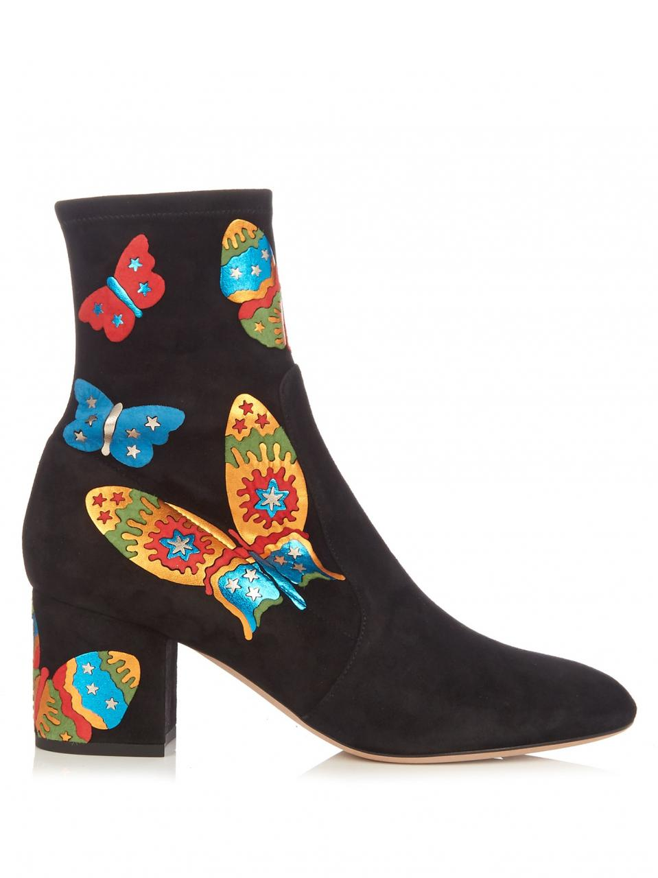 Valentino | Black Butterfly-appliqué Suede Ankle Boots | Lyst
