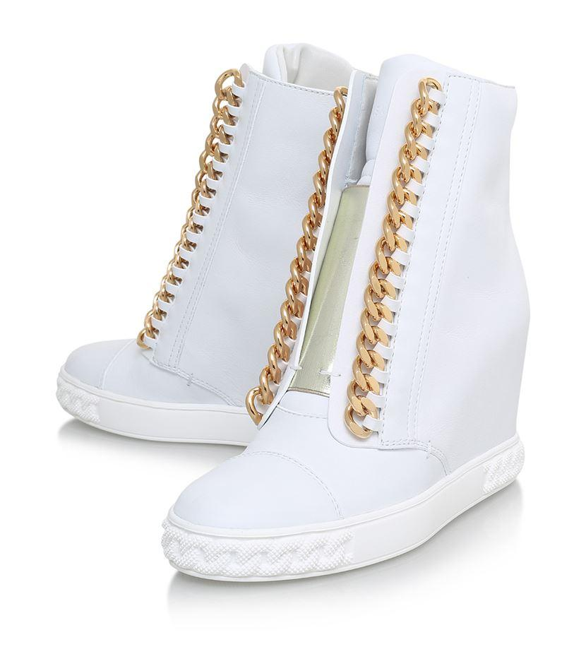 Casadei | White Chain Trimmed Wedge Sneakers | Lyst