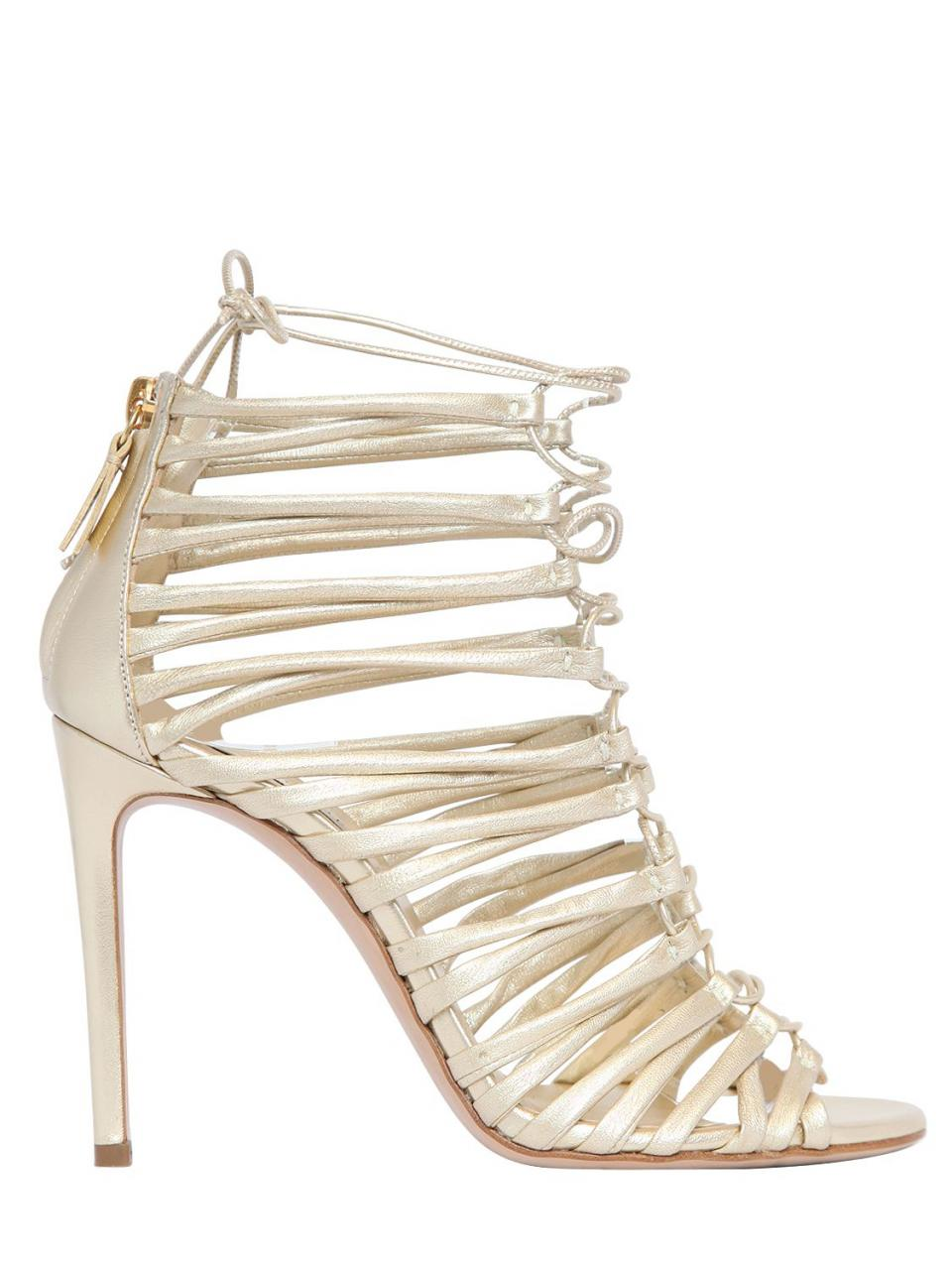 Casadei | Natural 100mm Metallic Leather Cage Sandals | Lyst