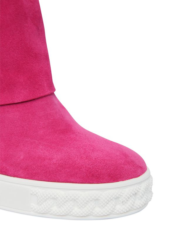Casadei | Purple 90mm Suede Wedge Sneakers | Lyst