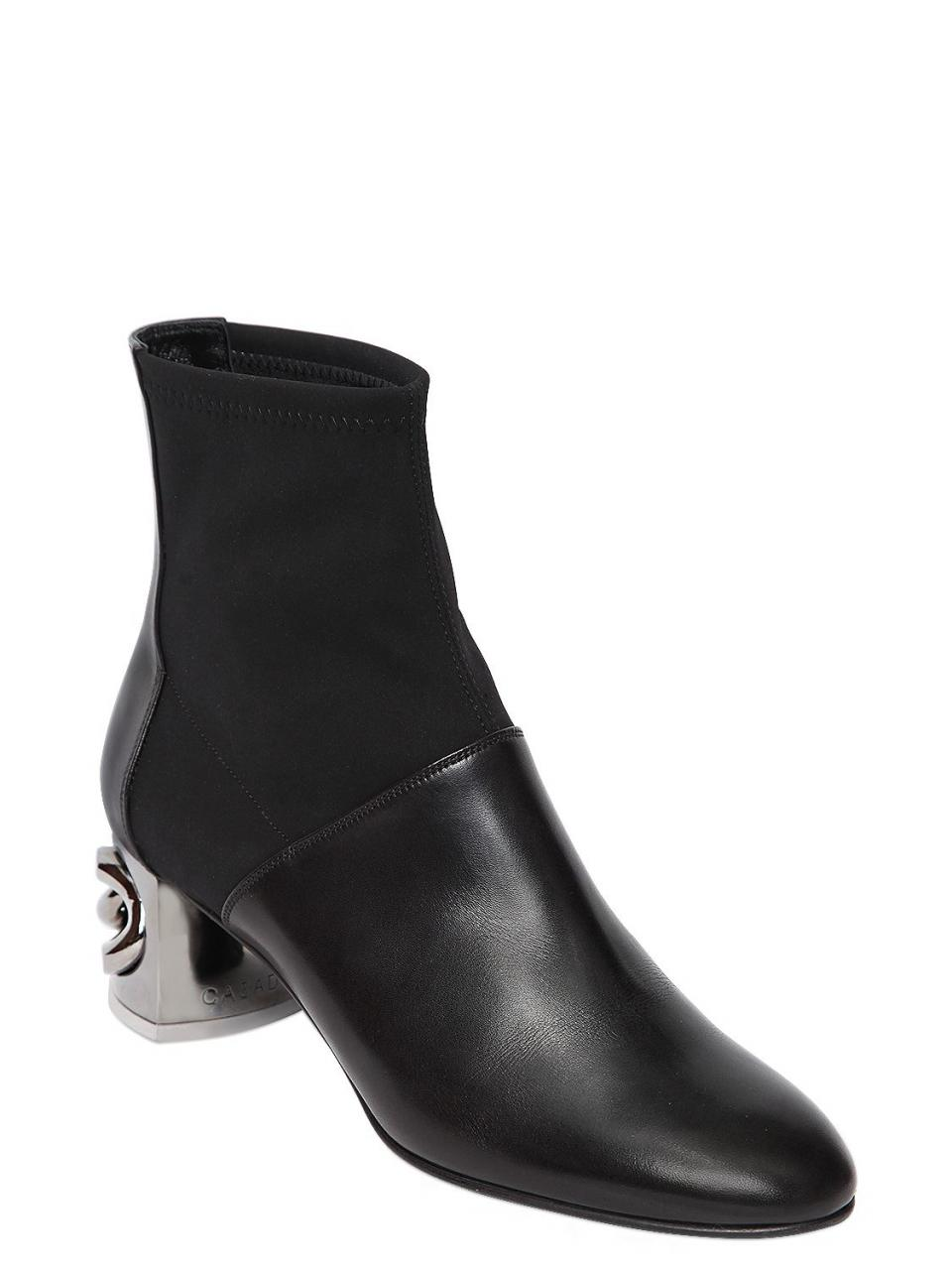 Casadei | Black 50mm Maxi Chain Leather Ankle Boots | Lyst