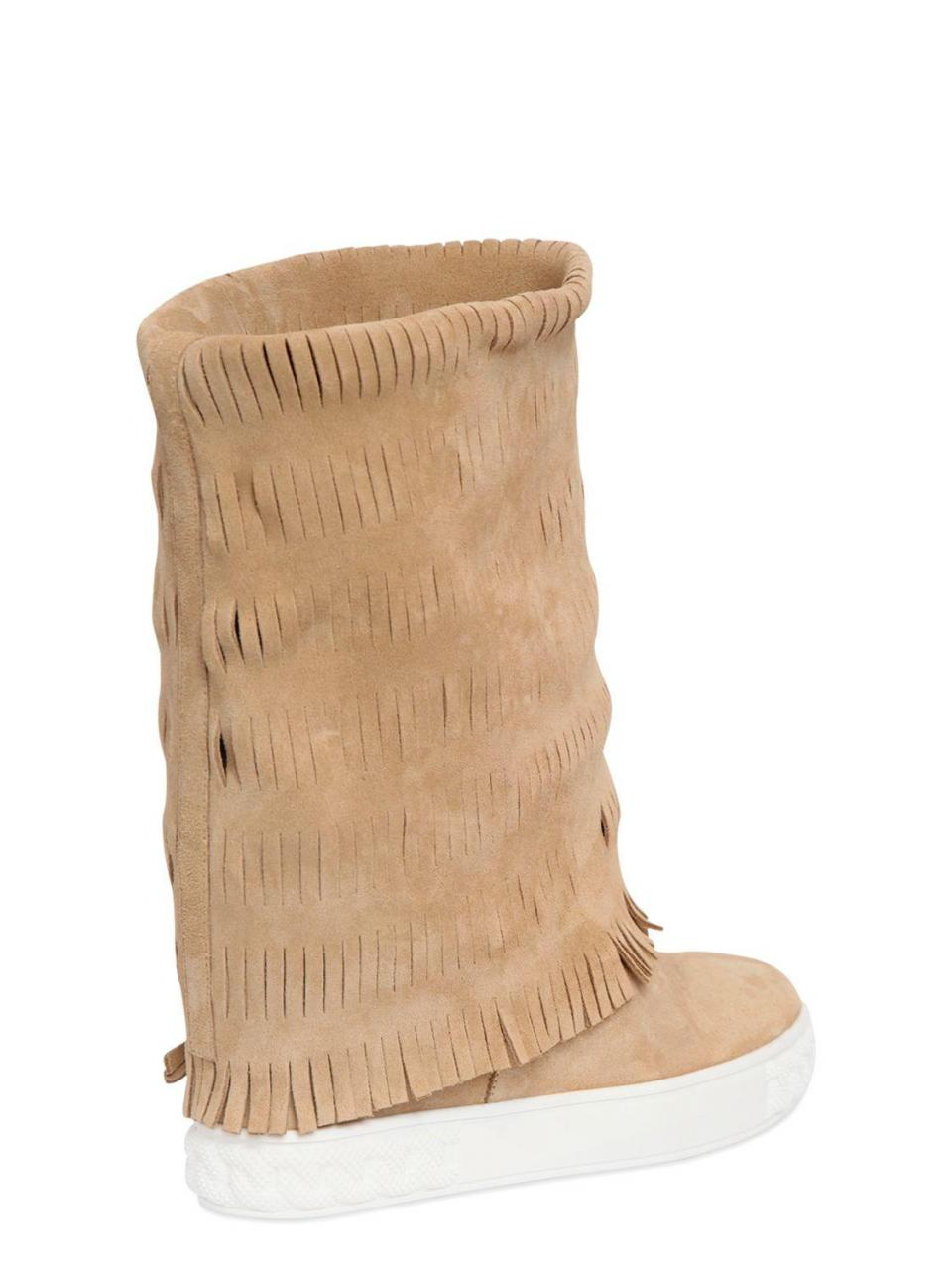 Casadei | Natural 80mm Fringed Suede Wedge Boots | Lyst