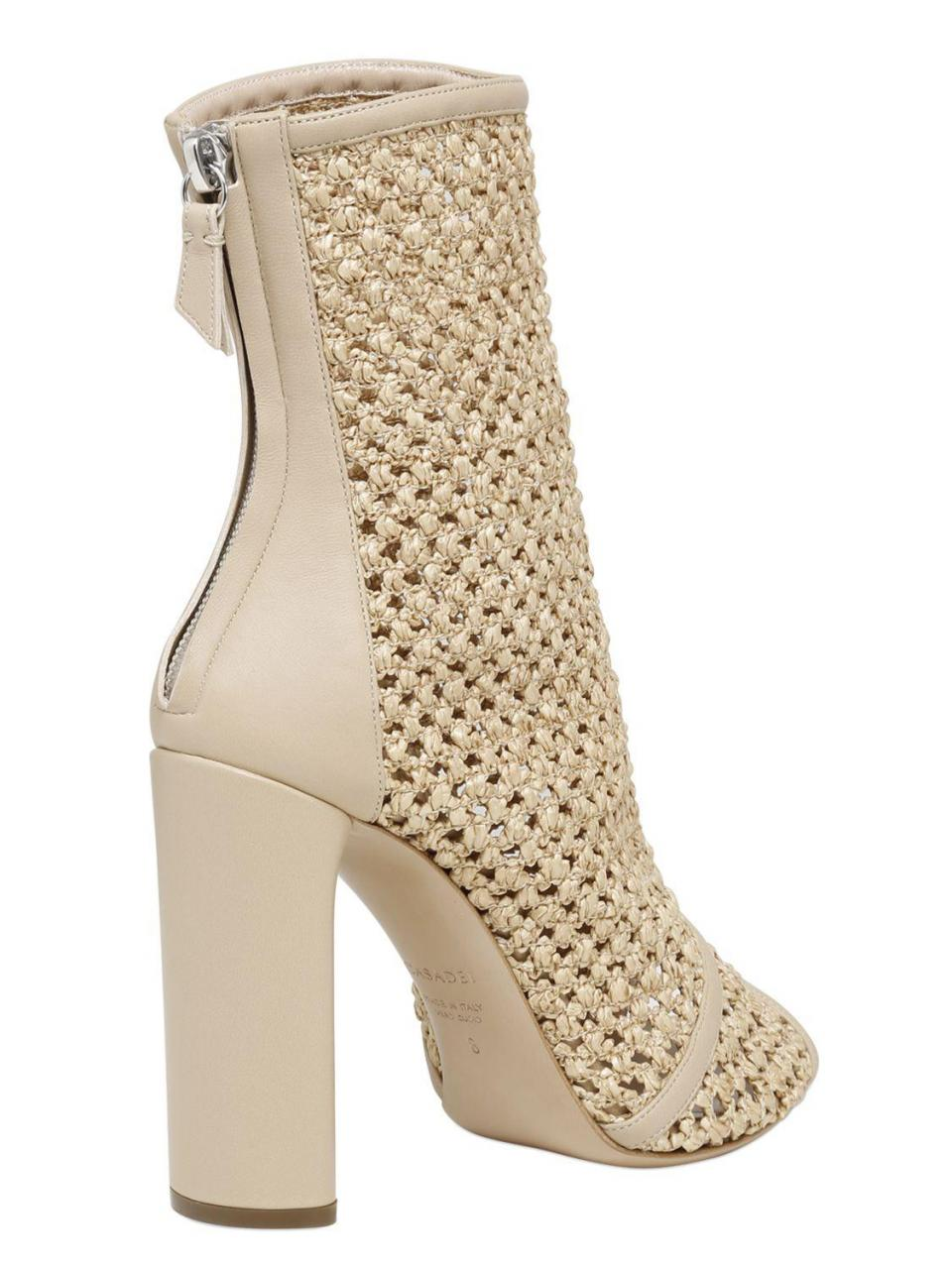 Casadei | Natural 100mm Woven Open Toe Ankle Boots | Lyst