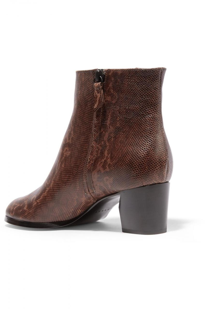 Casadei | Brown Liz Printed Textured-leather Ankle Boots | Lyst