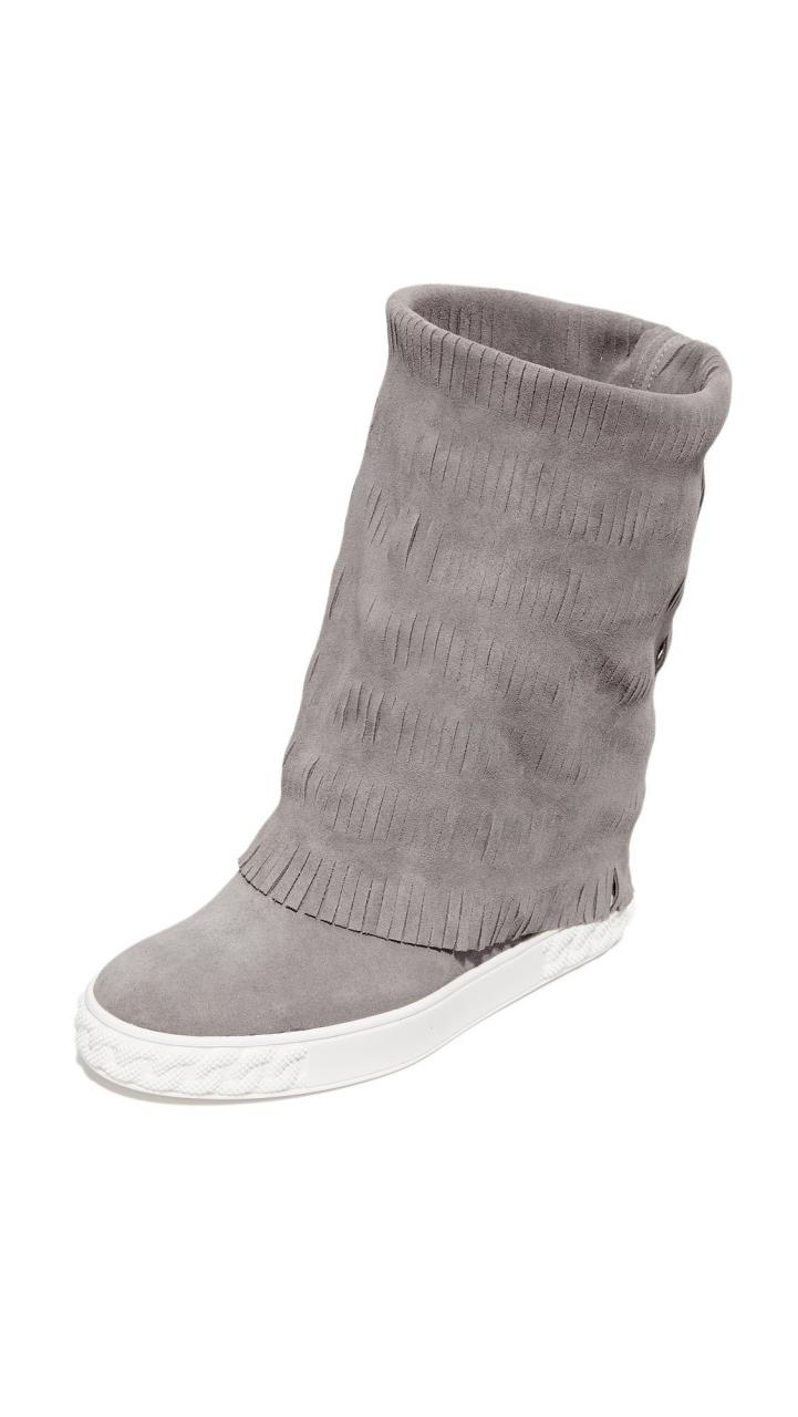 Casadei | Gray Fringe Ankle Boots | Lyst
