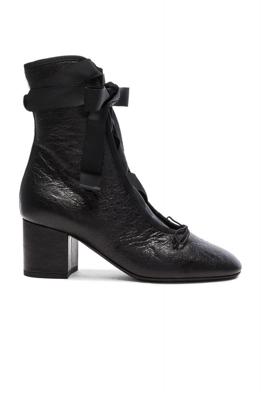 Valentino | Black Crinkled Leather Ballet Booties | Lyst