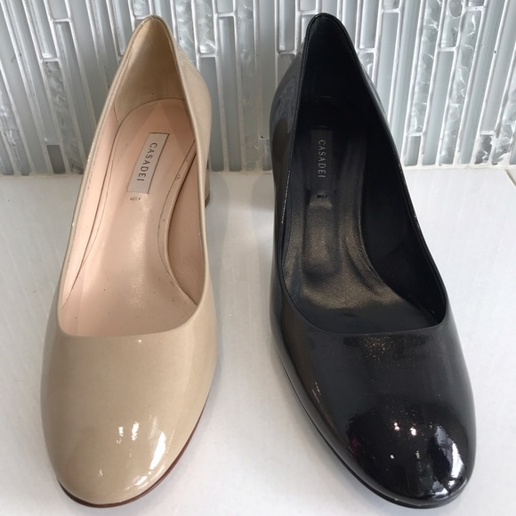 Casadei Shoes - Casadei Patent Leather Low Heel Pumps, Nude, BNIB