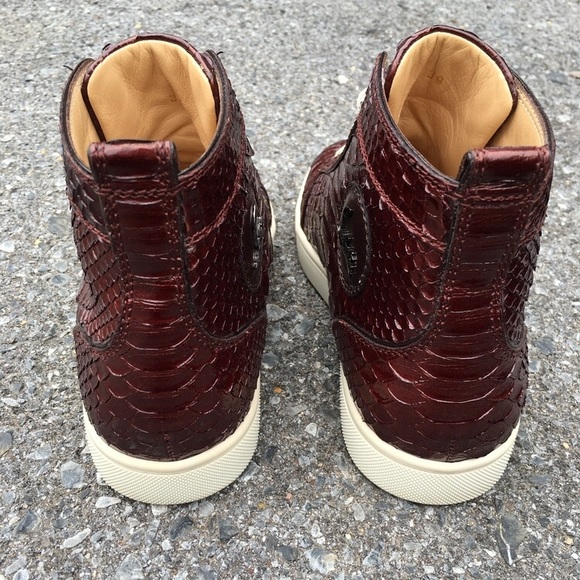Christian Louboutin Shoes - Christian Louboutin Python Burgundy Sneakers Sz 39